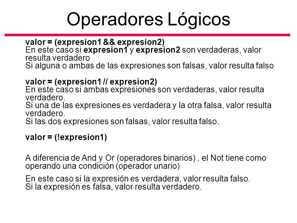 valor = (expresion1 && expresion2) En este caso si expresion1 y expresion2 son verdaderas, valor resulta verdadero Si alguna o ambas de las expresione