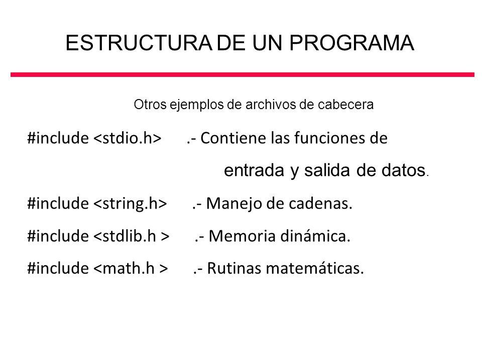 #include.- Contiene las funciones de entrada y salida de datos. #include.- Manejo de cadenas. #include.- Memoria dinámica. #include.- Rutinas matemáti