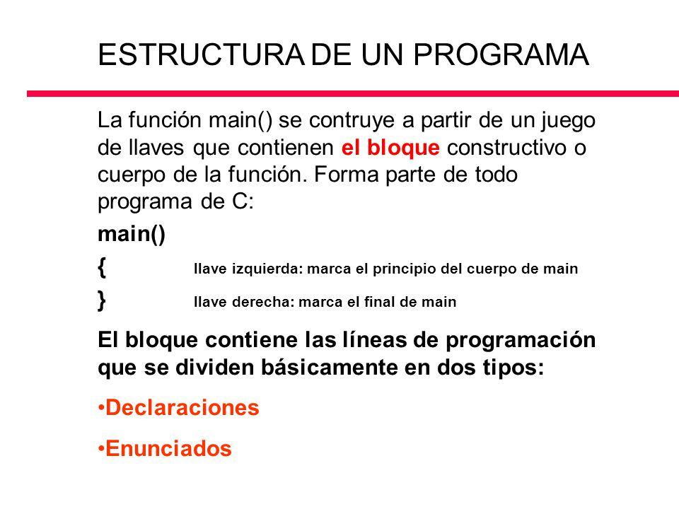La función main() se contruye a partir de un juego de llaves que contienen el bloque constructivo o cuerpo de la función. Forma parte de todo programa