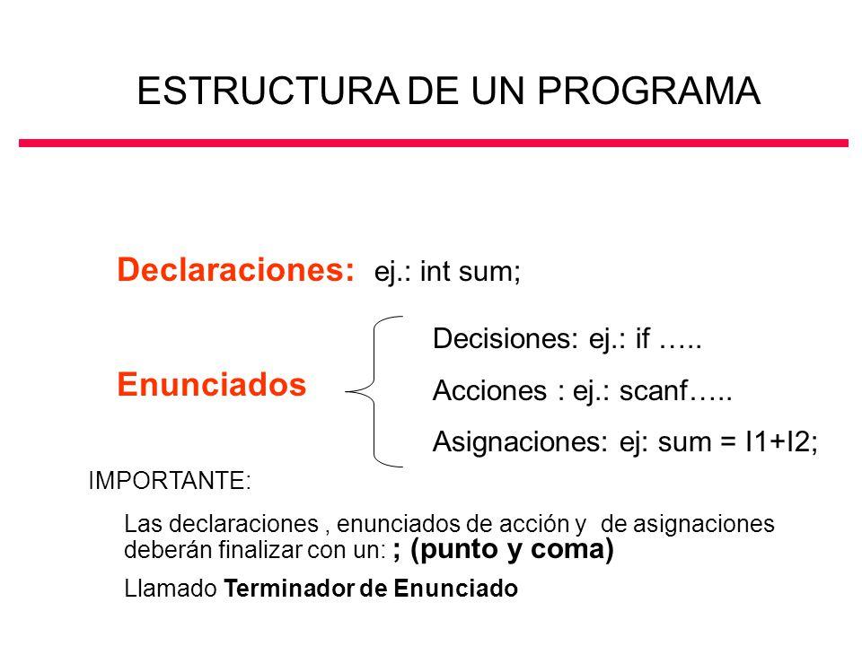 Declaraciones: ej.: int sum; Enunciados Decisiones: ej.: if ….. Acciones : ej.: scanf….. Asignaciones: ej: sum = I1+I2; ESTRUCTURA DE UN PROGRAMA Las