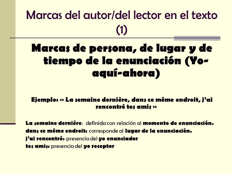 Marcas del autor/del lector en el texto (2) Modalizaciones/Modalidades Inscripción de las relaciones que el autor mantiene con lo que escribe y con los otros (juicios, intectuales y afectivos, sentimientos, duda, necesidad, certeza, obligación, posibilidad, deber, imposibilidad)