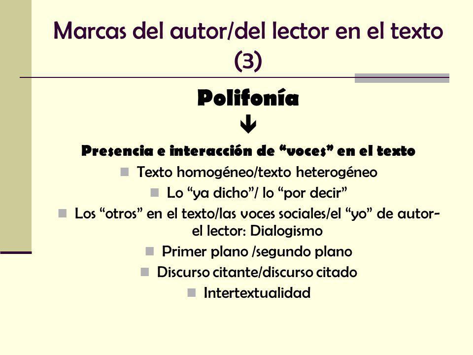 Marcas del autor/del lector en el texto (3) Polifonía Presencia e interacción de voces en el texto Texto homogéneo/texto heterogéneo Lo ya dicho/ lo p