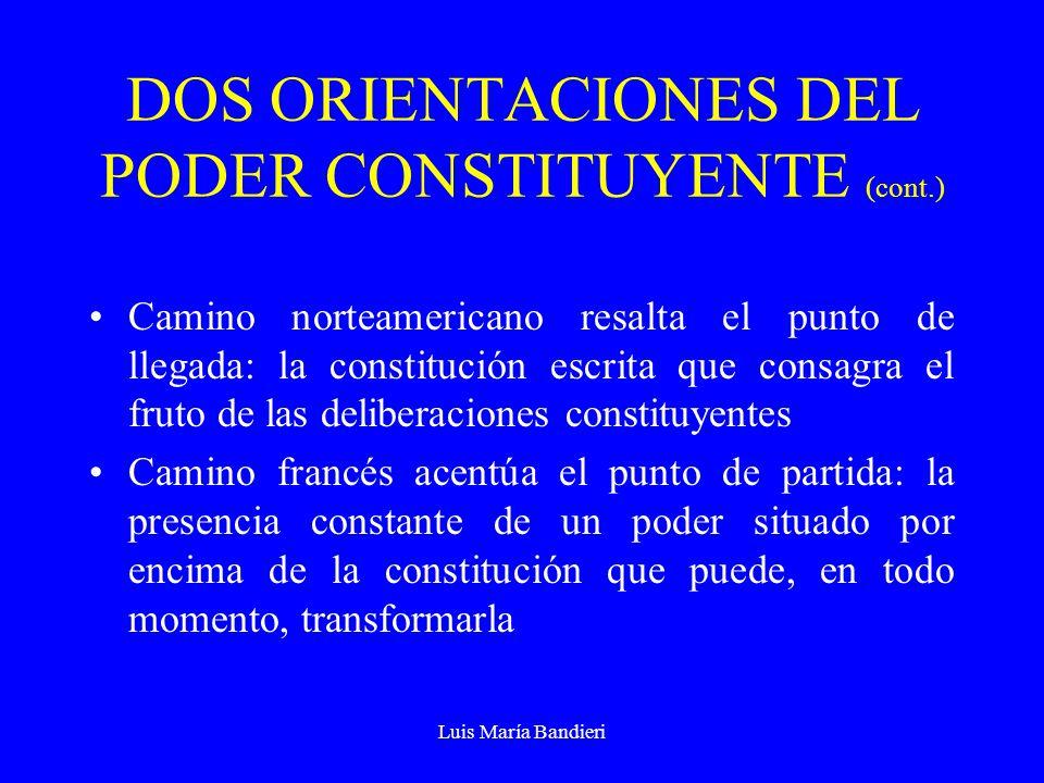Luis María Bandieri DOS ORIENTACIONES DEL PODER CONSTITUYENTE (cont.) Camino norteamericano resalta el punto de llegada: la constitución escrita que c