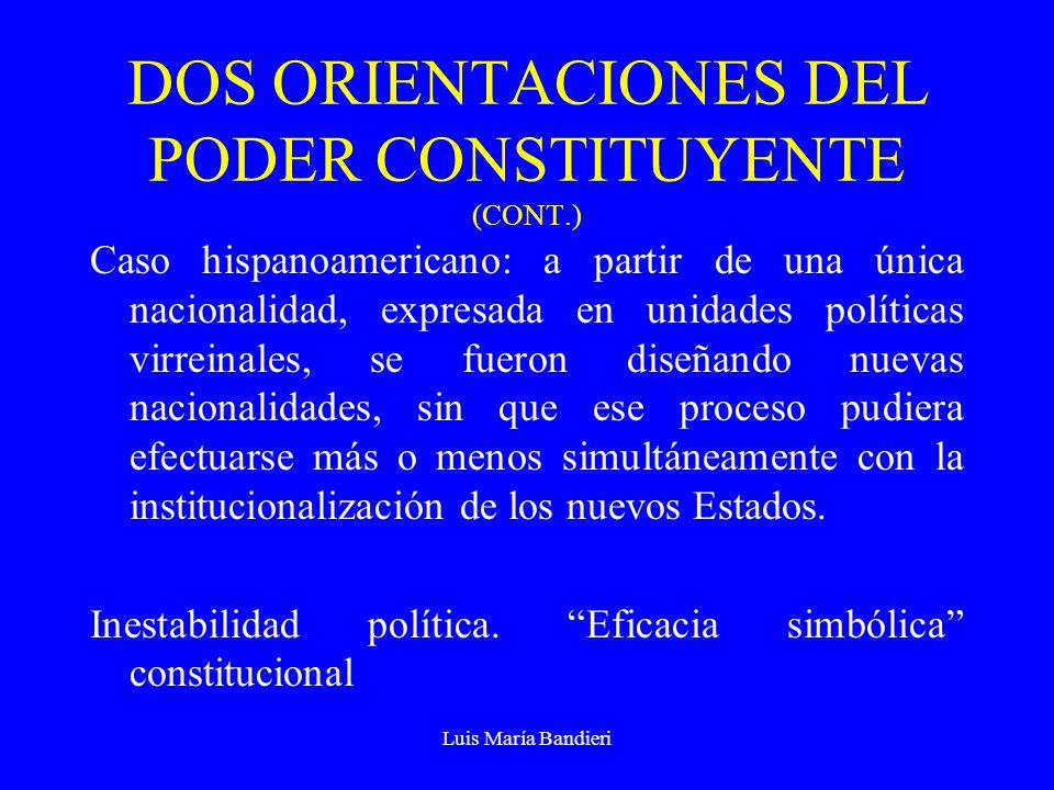 Luis María Bandieri DOS ORIENTACIONES DEL PODER CONSTITUYENTE (CONT.) Caso hispanoamericano: a partir de una única nacionalidad, expresada en unidades