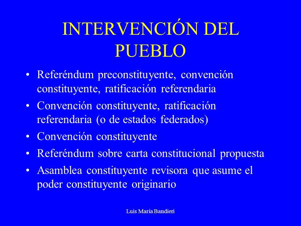 Luis María Bandieri INTERVENCIÓN DEL PUEBLO Referéndum preconstituyente, convención constituyente, ratificación referendaria Convención constituyente,