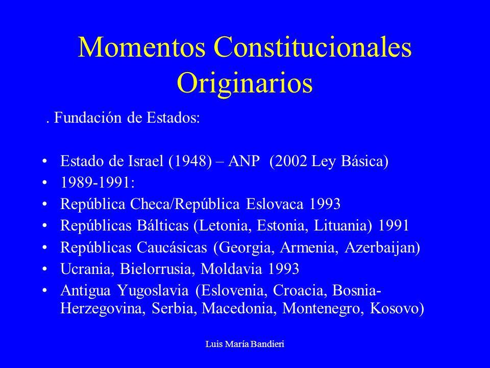 Luis María Bandieri Momentos Constitucionales Originarios. Fundación de Estados: Estado de Israel (1948) – ANP (2002 Ley Básica) 1989-1991: República