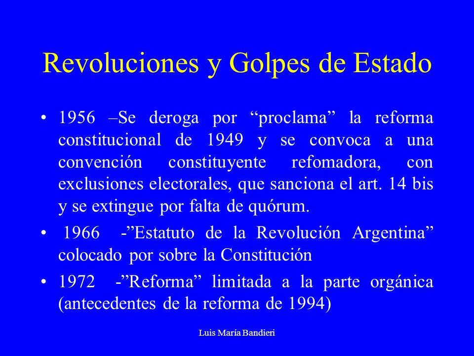 Luis María Bandieri Revoluciones y Golpes de Estado 1956 –Se deroga por proclama la reforma constitucional de 1949 y se convoca a una convención const