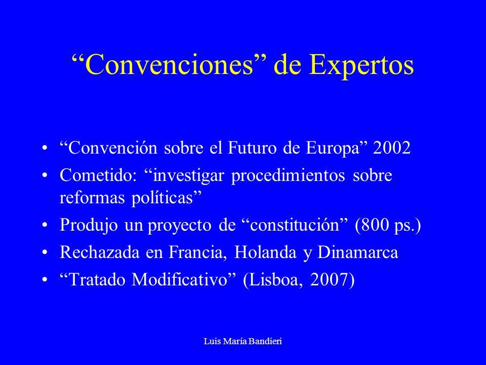 Luis María Bandieri Convenciones de Expertos Convención sobre el Futuro de Europa 2002 Cometido: investigar procedimientos sobre reformas políticas Pr