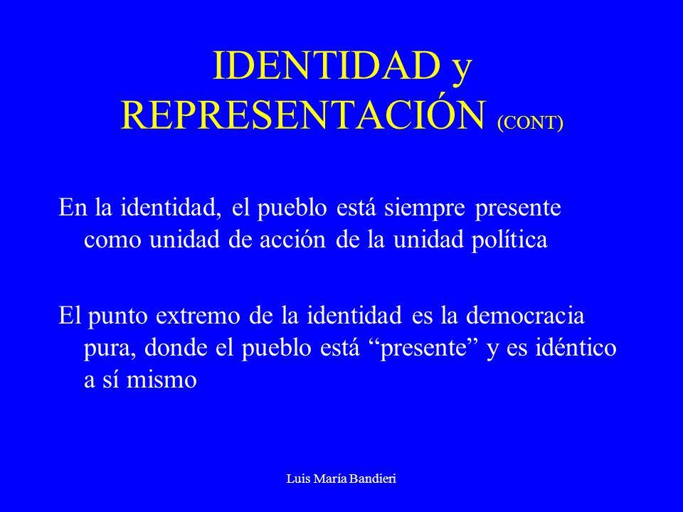 Luis María Bandieri IDENTIDAD y REPRESENTACIÓN (CONT) En la representación, se considera que la unidad política del pueblo como tal nunca puede estar presente y por ello tiene que estar re-presentada personalmente por un conjunto de individuos.