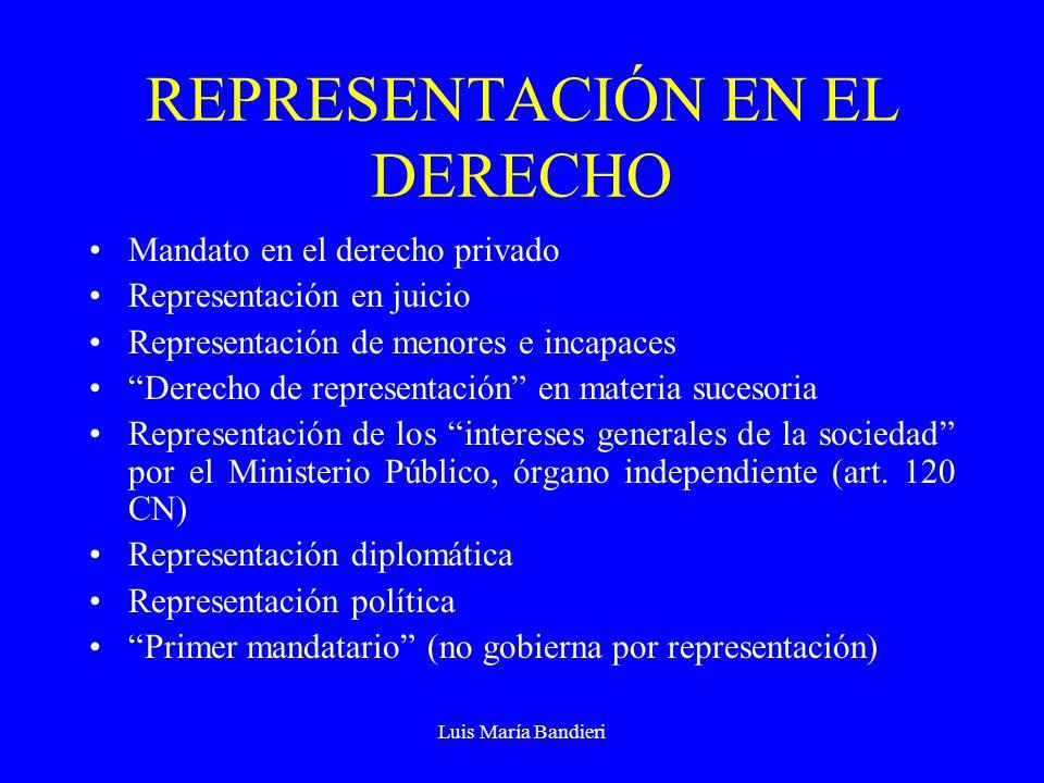 Luis María Bandieri REPRESENTACIÓN POLÍTICA Es siempre personal (rasgo general) Se representa la voluntad de una persona colectiva (de una unidad o totalidad) Los electores los eligen para que los represente, no para que los gobierne (quien gobierna a una comunidad no la representa, salvo frente a terceros) La unidad o totalidad representada no es capaz de querer y obrar por sí misma
