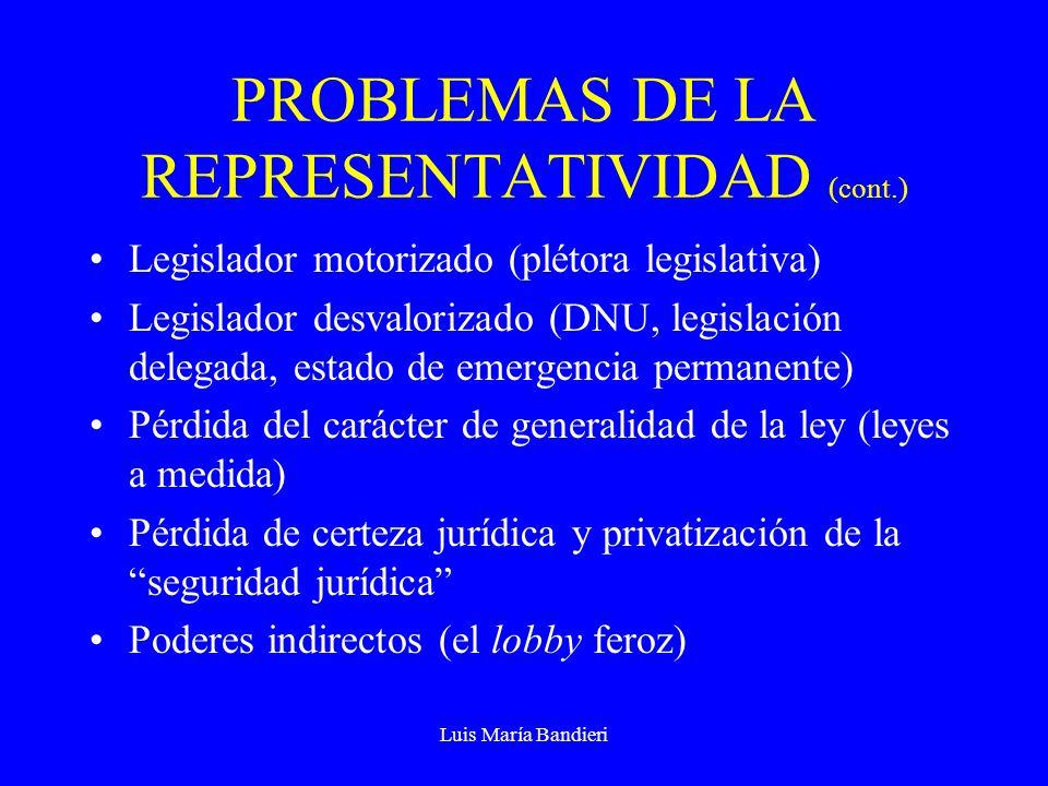 Luis María Bandieri PROBLEMAS DE LA REPRESENTATIVIDAD (cont.) Legislador motorizado (plétora legislativa) Legislador desvalorizado (DNU, legislación delegada, estado de emergencia permanente) Pérdida del carácter de generalidad de la ley (leyes a medida) Pérdida de certeza jurídica y privatización de la seguridad jurídica Poderes indirectos (el lobby feroz)