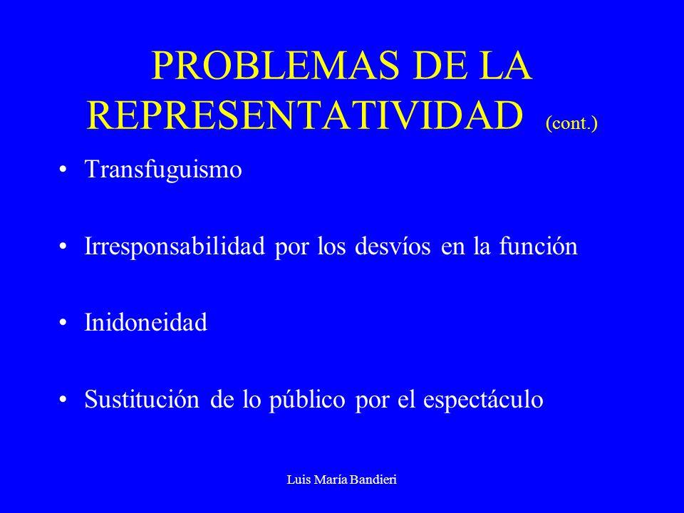 Luis María Bandieri PROBLEMAS DE LA REPRESENTATIVIDAD (cont.) Transfuguismo Irresponsabilidad por los desvíos en la función Inidoneidad Sustitución de lo público por el espectáculo