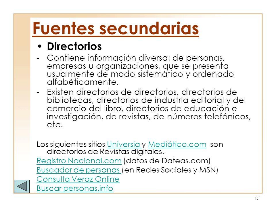 15 Directorios -Contiene información diversa: de personas, empresas u organizaciones, que se presenta usualmente de modo sistemático y ordenado alfabé