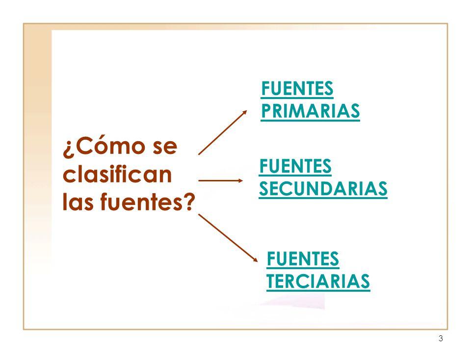 3 FUENTES PRIMARIAS FUENTES TERCIARIAS FUENTES SECUNDARIAS ¿Cómo se clasifican las fuentes?