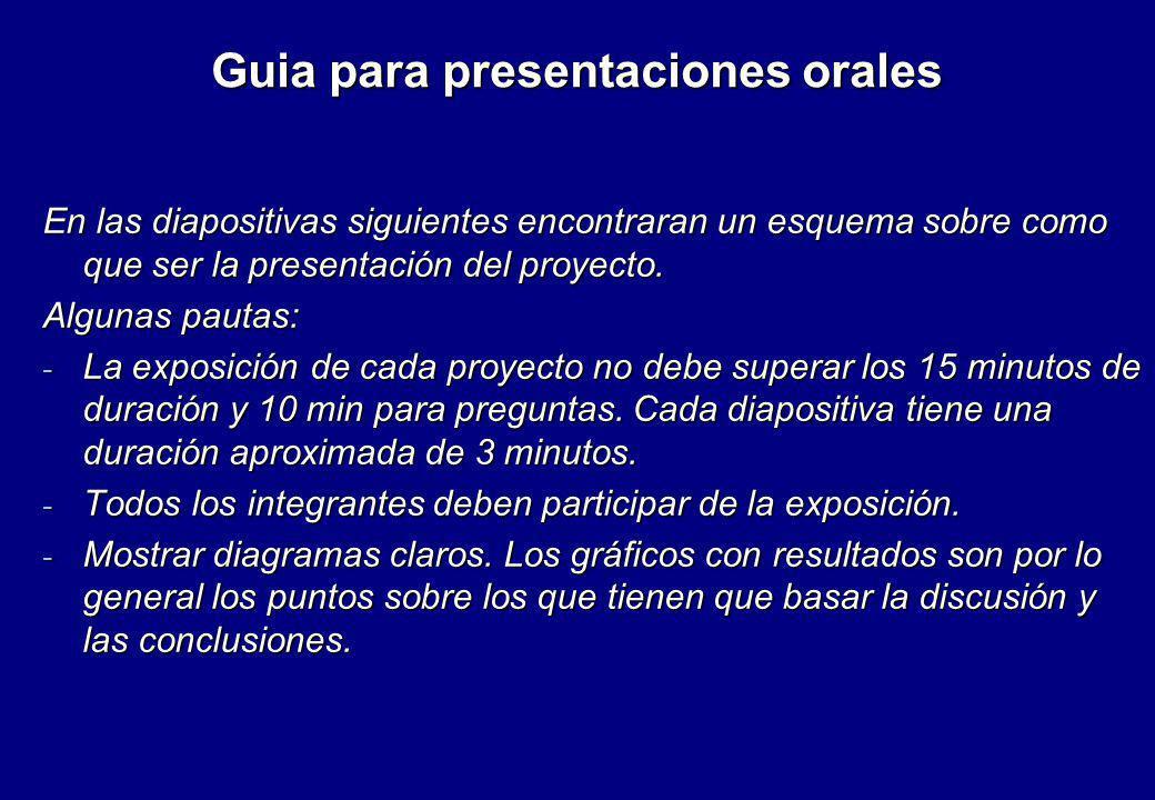 Guia para presentaciones orales En las diapositivas siguientes encontraran un esquema sobre como que ser la presentación del proyecto. Algunas pautas: