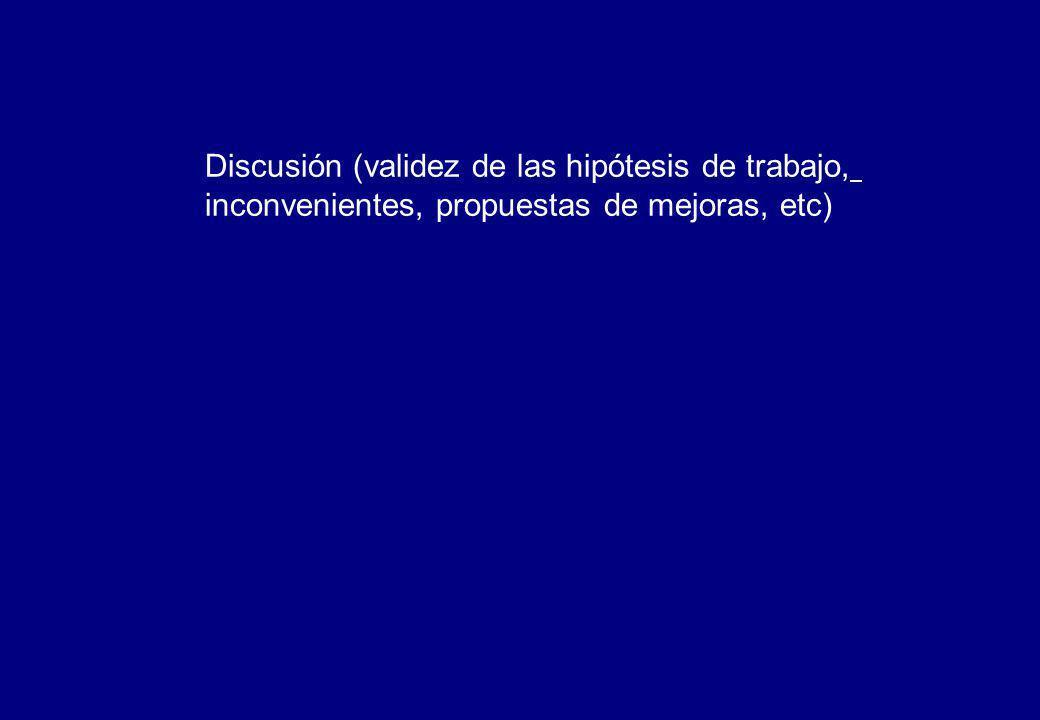 Discusión (validez de las hipótesis de trabajo, inconvenientes, propuestas de mejoras, etc)