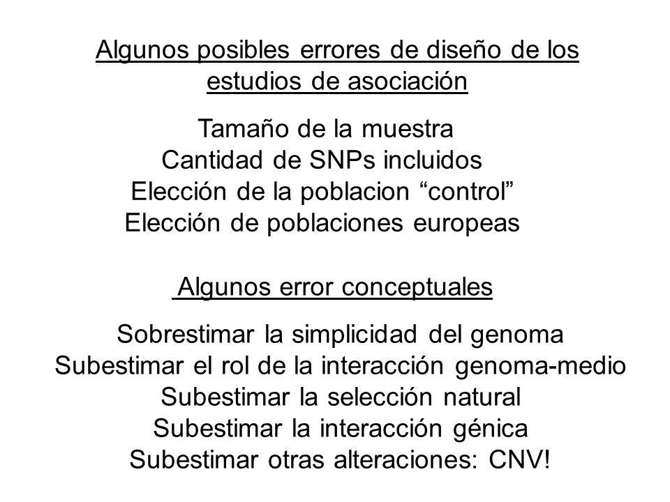 Algunos posibles errores de diseño de los estudios de asociación Tamaño de la muestra Cantidad de SNPs incluidos Elección de la poblacion control Elec