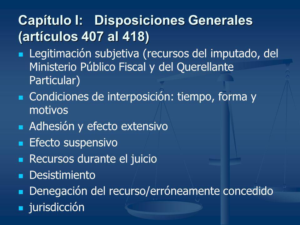 Capítulo I: Disposiciones Generales (artículos 407 al 418) Legitimación subjetiva (recursos del imputado, del Ministerio Público Fiscal y del Querella