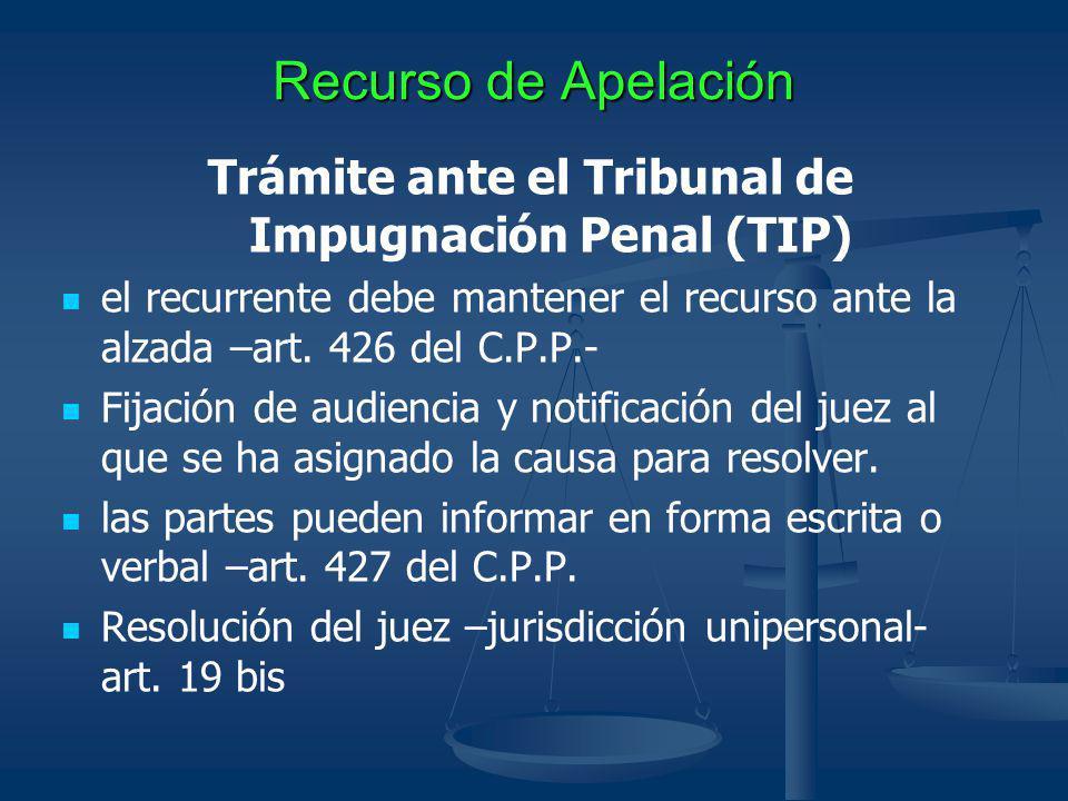 Recurso de Apelación Trámite ante el Tribunal de Impugnación Penal (TIP) el recurrente debe mantener el recurso ante la alzada –art. 426 del C.P.P.- F