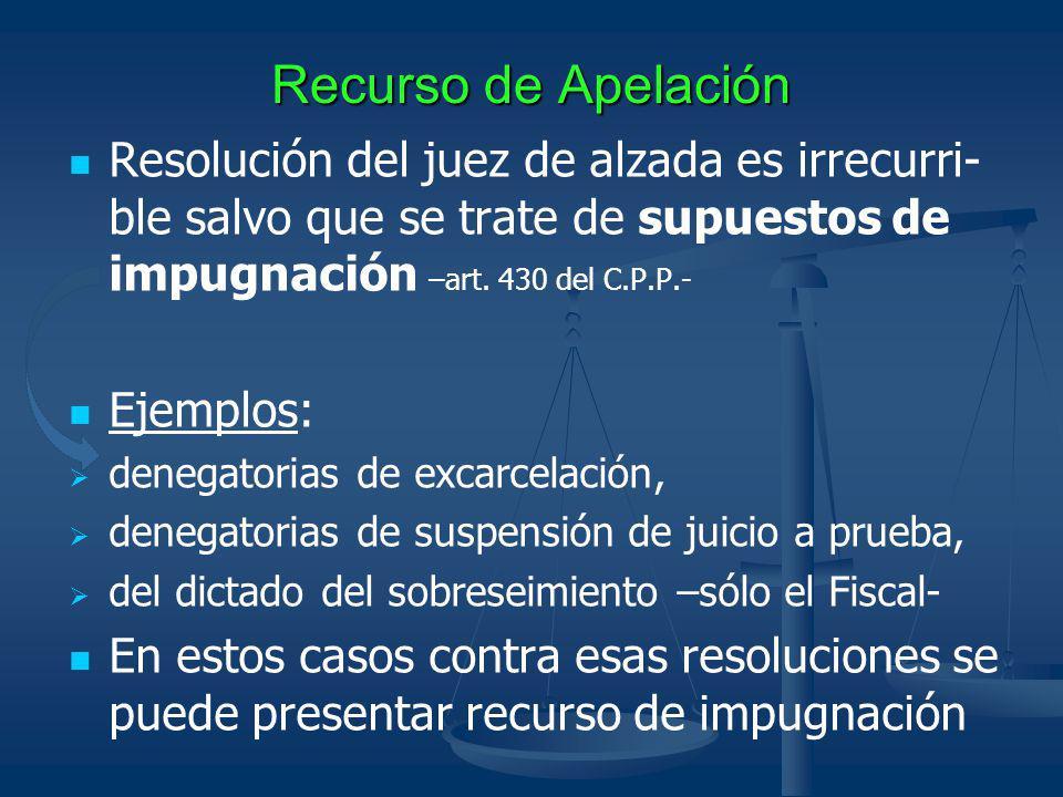Recurso de Apelación Resolución del juez de alzada es irrecurri- ble salvo que se trate de supuestos de impugnación –art. 430 del C.P.P.- Ejemplos: de