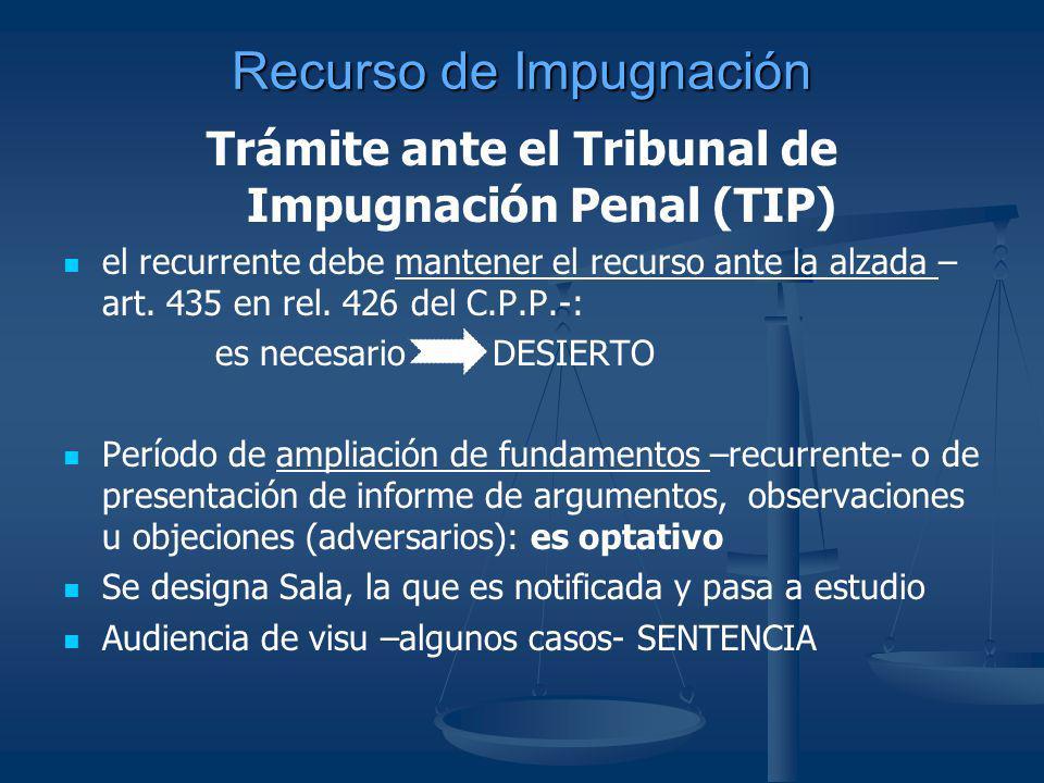 Recurso de Impugnación Trámite ante el Tribunal de Impugnación Penal (TIP) el recurrente debe mantener el recurso ante la alzada – art. 435 en rel. 42