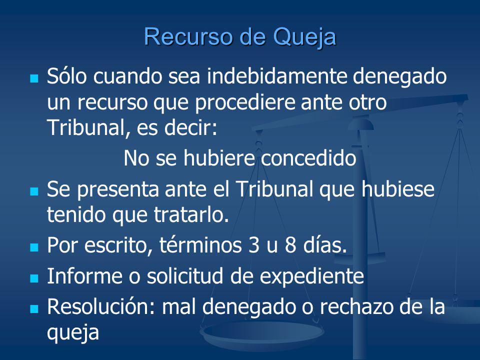 Recurso de Queja Sólo cuando sea indebidamente denegado un recurso que procediere ante otro Tribunal, es decir: No se hubiere concedido Se presenta an