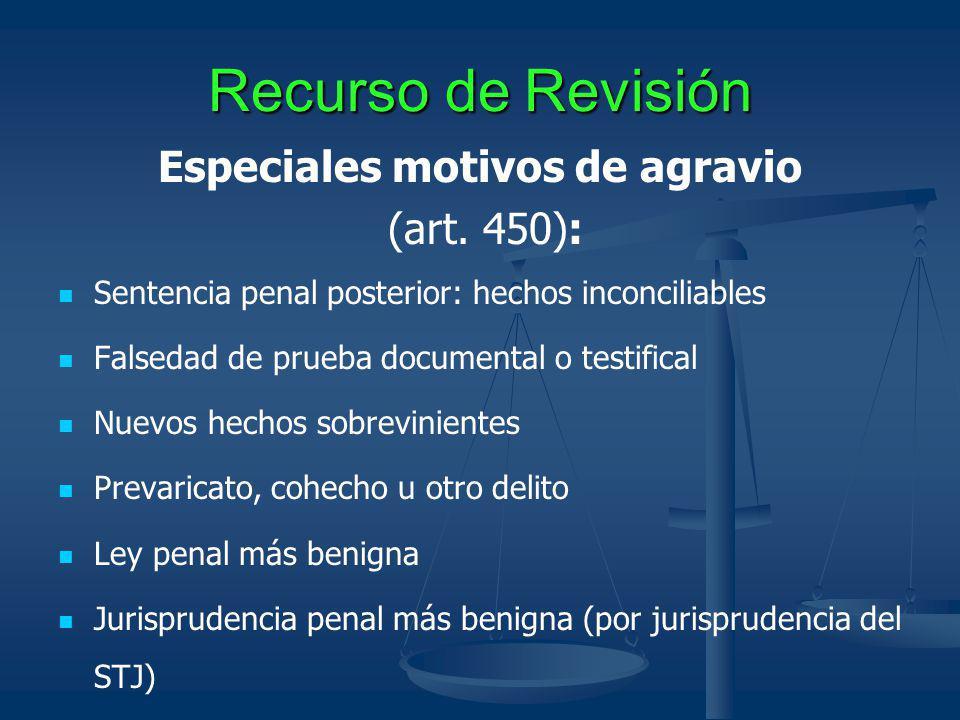 Recurso de Revisión Especiales motivos de agravio (art. 450): Sentencia penal posterior: hechos inconciliables Falsedad de prueba documental o testifi
