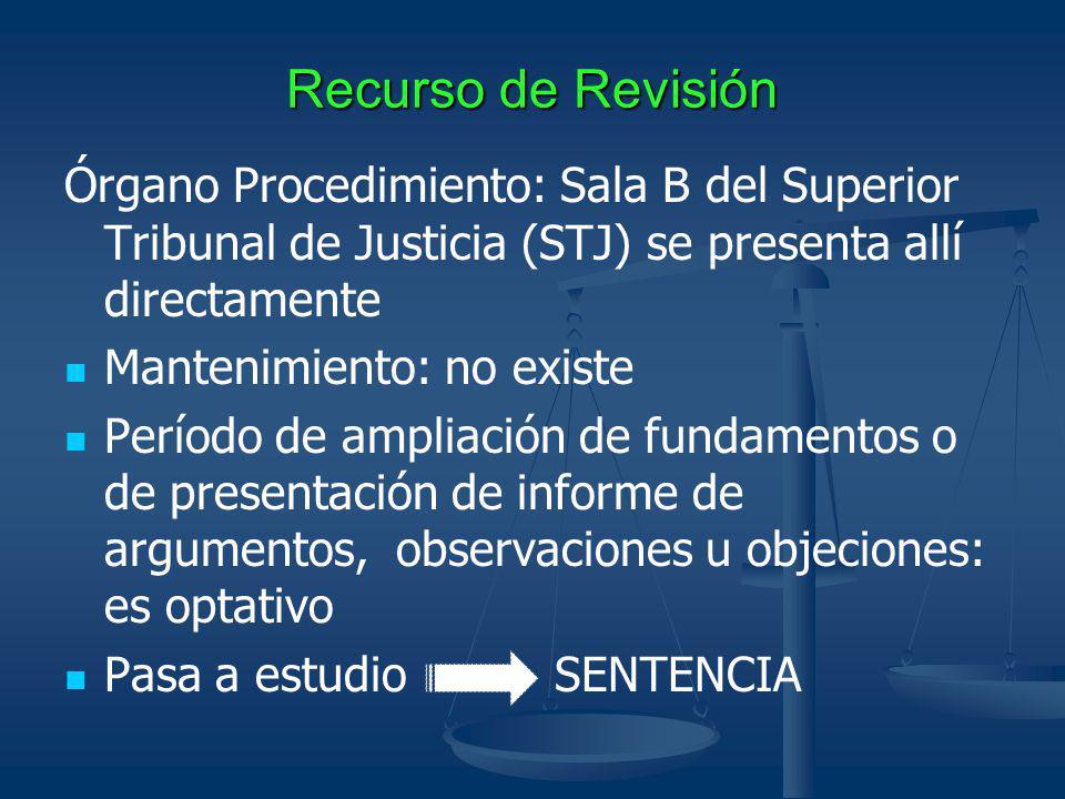 Recurso de Revisión Órgano Procedimiento: Sala B del Superior Tribunal de Justicia (STJ) se presenta allí directamente Mantenimiento: no existe Períod