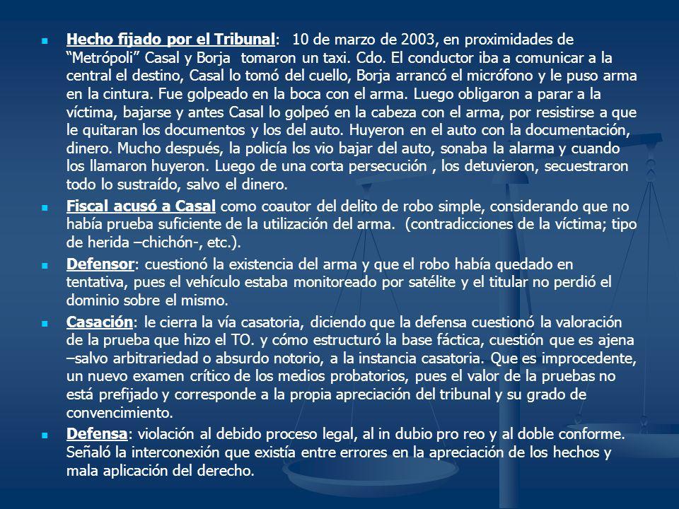 Hecho fijado por el Tribunal: 10 de marzo de 2003, en proximidades de Metrópoli Casal y Borja tomaron un taxi. Cdo. El conductor iba a comunicar a la