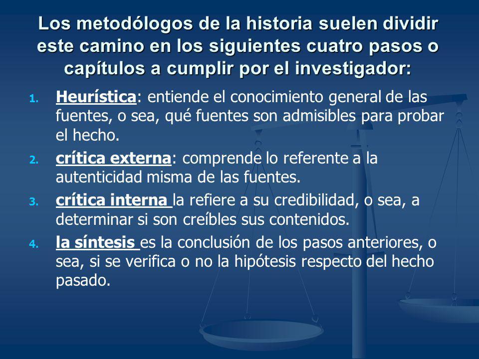 Los metodólogos de la historia suelen dividir este camino en los siguientes cuatro pasos o capítulos a cumplir por el investigador: 1. 1. Heurística:
