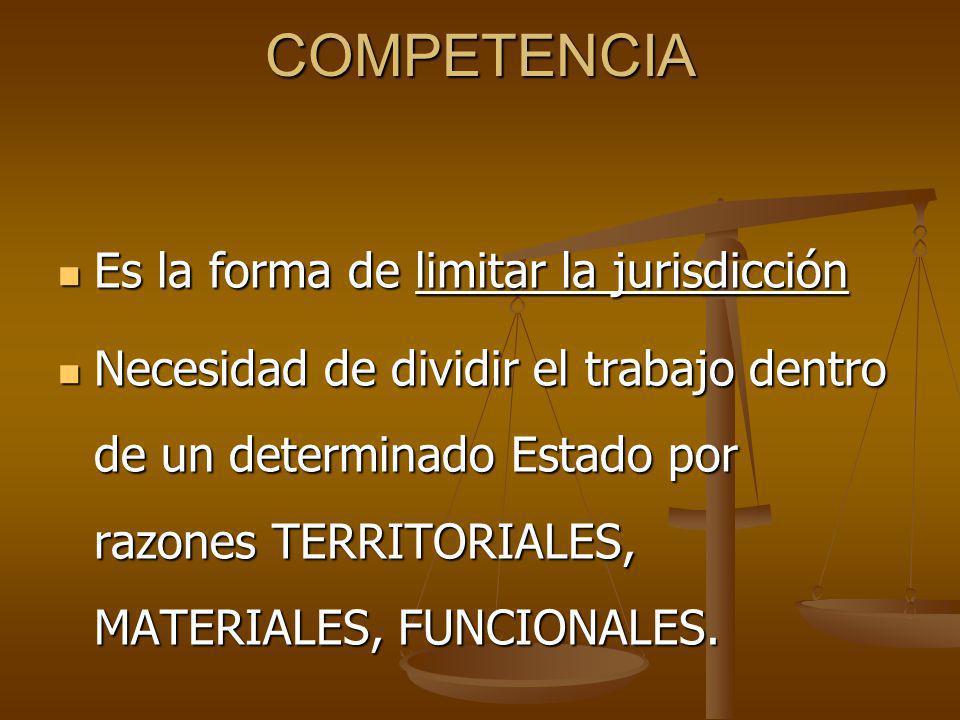 COMPETENCIA Es la forma de limitar la jurisdicción Es la forma de limitar la jurisdicción Necesidad de dividir el trabajo dentro de un determinado Estado por razones TERRITORIALES, MATERIALES, FUNCIONALES.