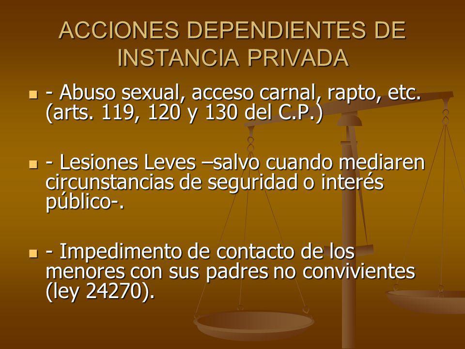 ACCIONES DEPENDIENTES DE INSTANCIA PRIVADA - Abuso sexual, acceso carnal, rapto, etc.