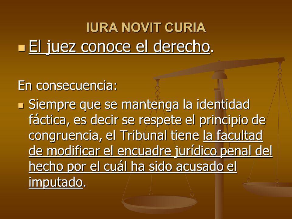 IURA NOVIT CURIA El juez conoce el derecho.El juez conoce el derecho.