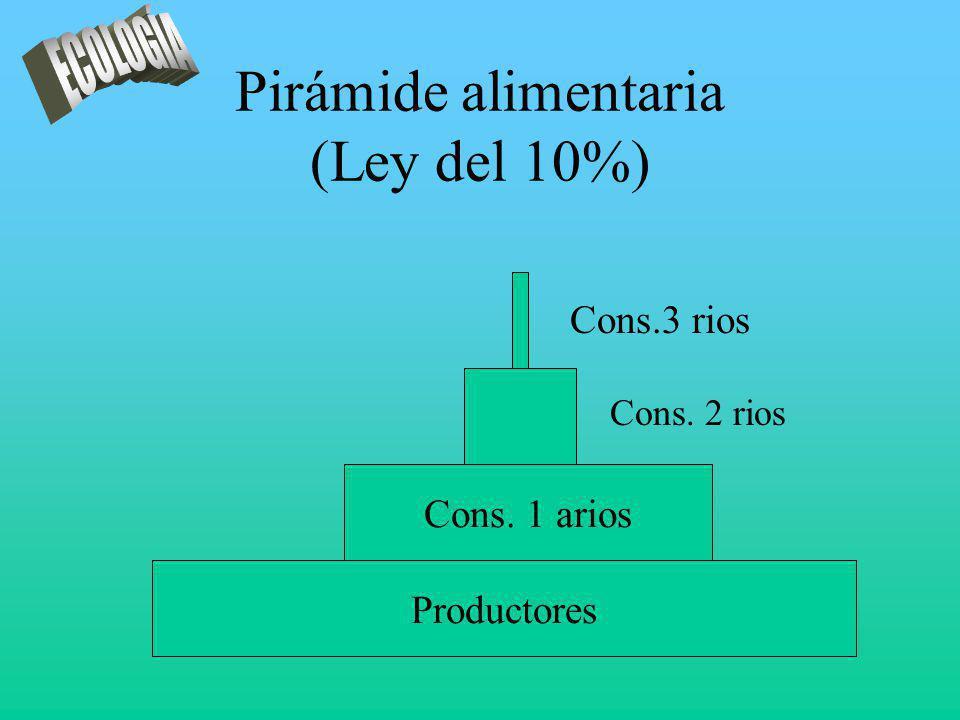 Pirámide alimentaria (Ley del 10%) Productores Cons. 1 arios Cons.3 rios Cons. 2 rios