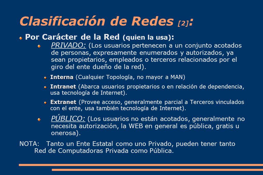 Clasificación de Redes [2] : Por Carácter de la Red (quien la usa) : PRIVADO: (Los usuarios pertenecen a un conjunto acotados de personas, expresamente enumerados y autorizados, ya sean propietarios, empleados o terceros relacionados por el giro del ente dueño de la red).