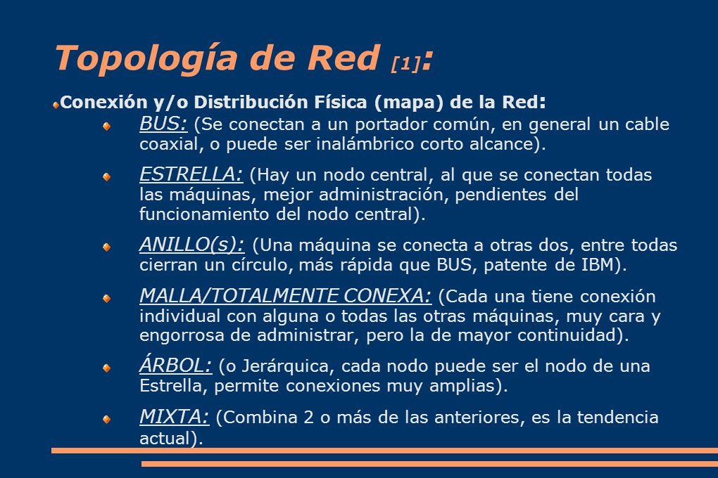 Topología de Red [1] : Conexión y/o Distribución Física (mapa) de la Red : BUS: (Se conectan a un portador común, en general un cable coaxial, o puede ser inalámbrico corto alcance).