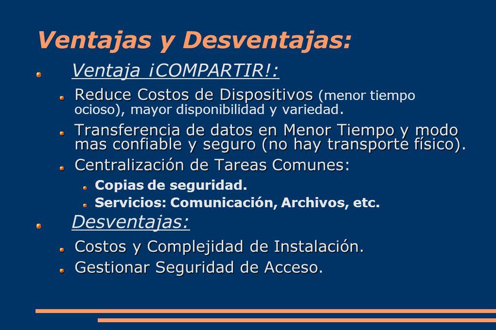 Ventajas y Desventajas: Ventaja ¡COMPARTIR!: Reduce Costos de Dispositivos Reduce Costos de Dispositivos (menor tiempo ocioso), mayor disponibilidad y variedad.