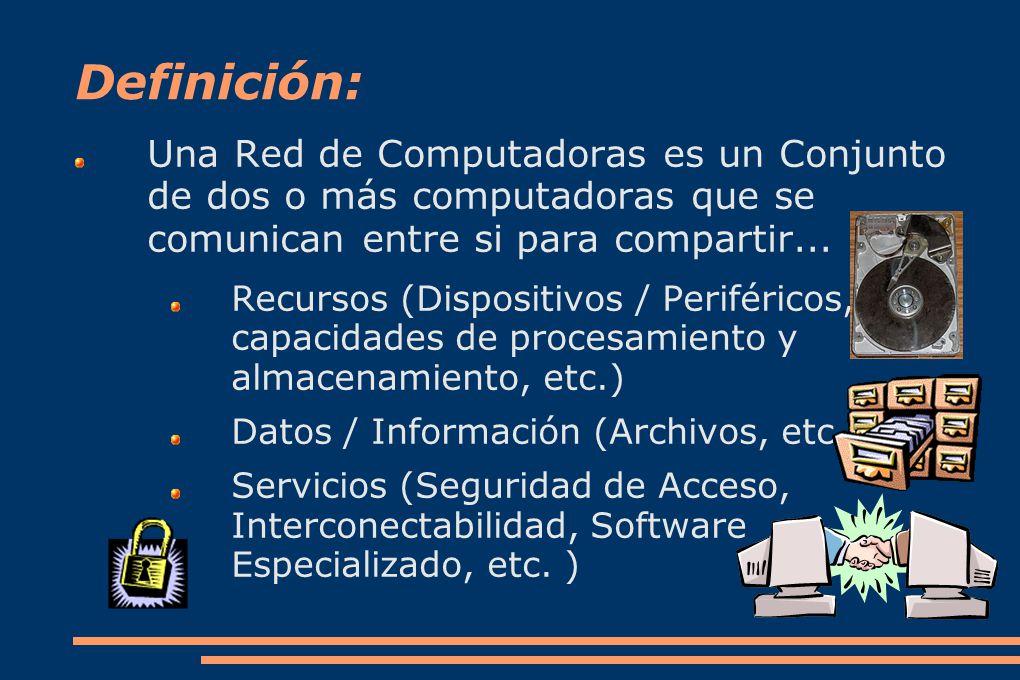 Definición: Una Red de Computadoras es un Conjunto de dos o más computadoras que se comunican entre si para compartir...