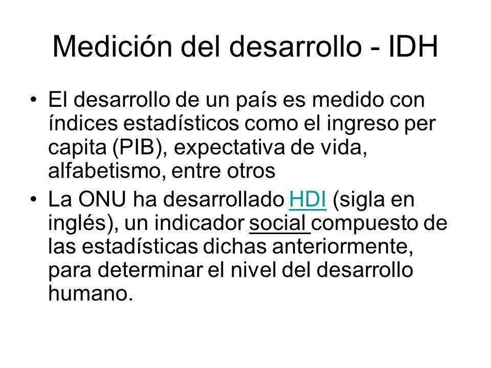 Medición del desarrollo - IDH El desarrollo de un país es medido con índices estadísticos como el ingreso per capita (PIB), expectativa de vida, alfabetismo, entre otros La ONU ha desarrollado HDI (sigla en inglés), un indicador social compuesto de las estadísticas dichas anteriormente, para determinar el nivel del desarrollo humano.HDI