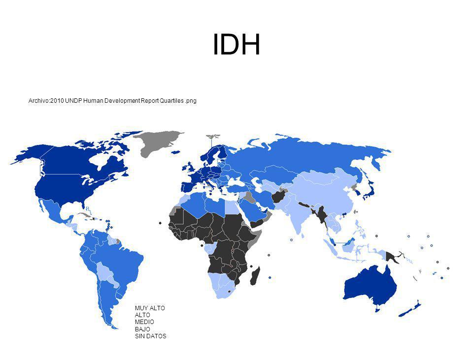 IDH Archivo:2010 UNDP Human Development Report Quartiles.png E MUY ALTO ALTO MEDIO BAJO SIN DATOS