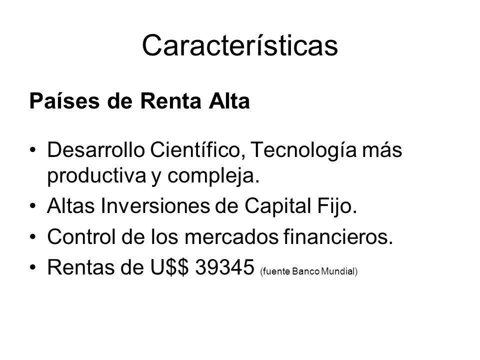 Características Países de Renta Alta Desarrollo Científico, Tecnología más productiva y compleja.