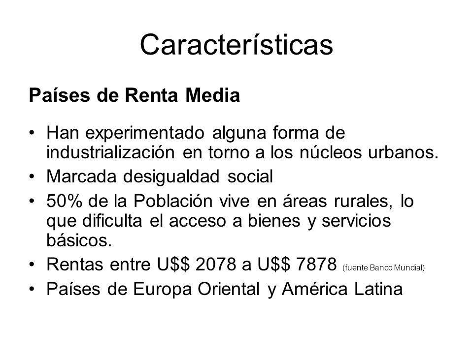 Características Países de Renta Media Han experimentado alguna forma de industrialización en torno a los núcleos urbanos.