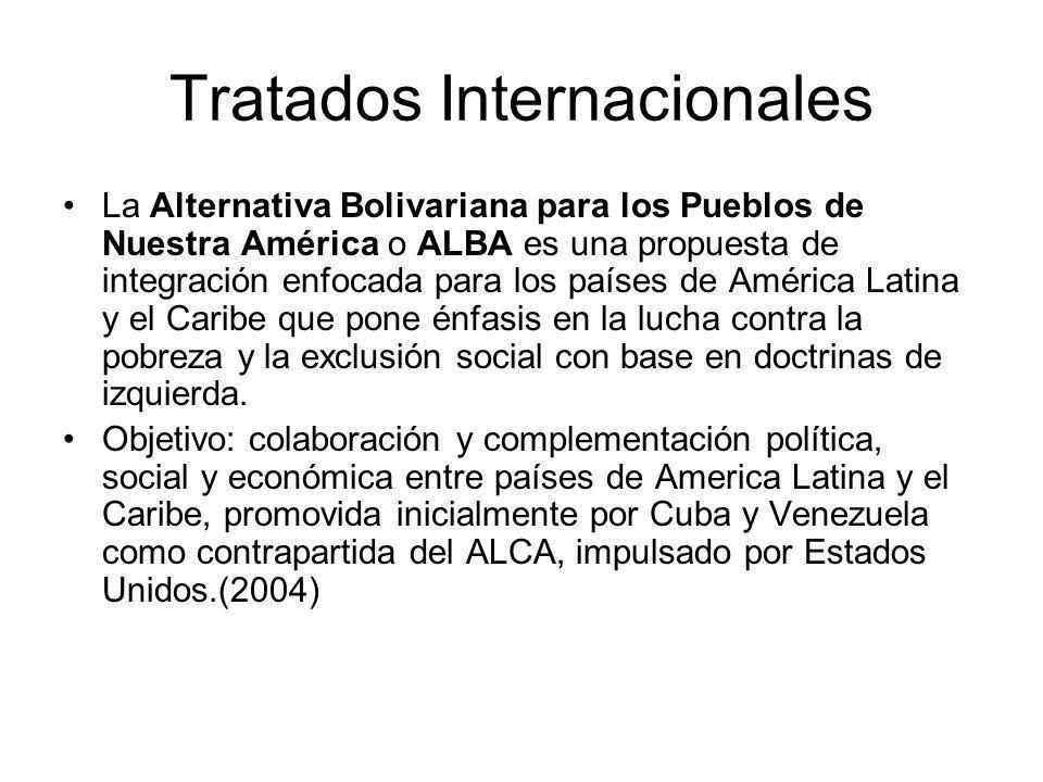 Tratados Internacionales La Alternativa Bolivariana para los Pueblos de Nuestra América o ALBA es una propuesta de integración enfocada para los países de América Latina y el Caribe que pone énfasis en la lucha contra la pobreza y la exclusión social con base en doctrinas de izquierda.