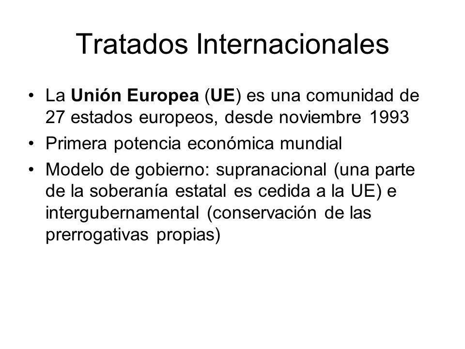 Tratados Internacionales La Unión Europea (UE) es una comunidad de 27 estados europeos, desde noviembre 1993 Primera potencia económica mundial Modelo de gobierno: supranacional (una parte de la soberanía estatal es cedida a la UE) e intergubernamental (conservación de las prerrogativas propias)