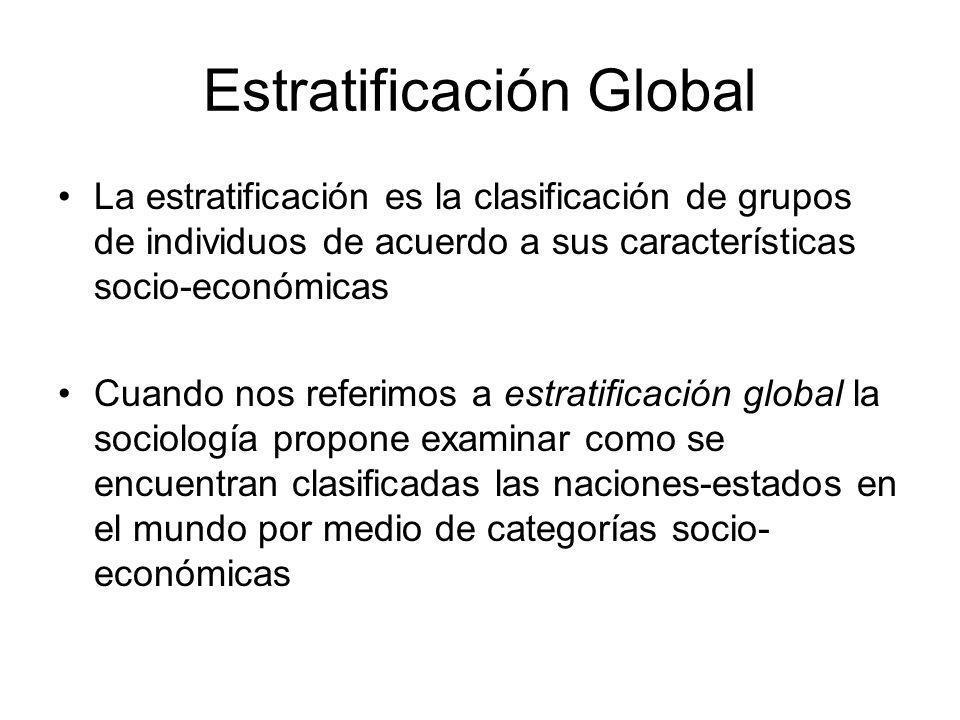 Estratificación Global La estratificación es la clasificación de grupos de individuos de acuerdo a sus características socio-económicas Cuando nos referimos a estratificación global la sociología propone examinar como se encuentran clasificadas las naciones-estados en el mundo por medio de categorías socio- económicas