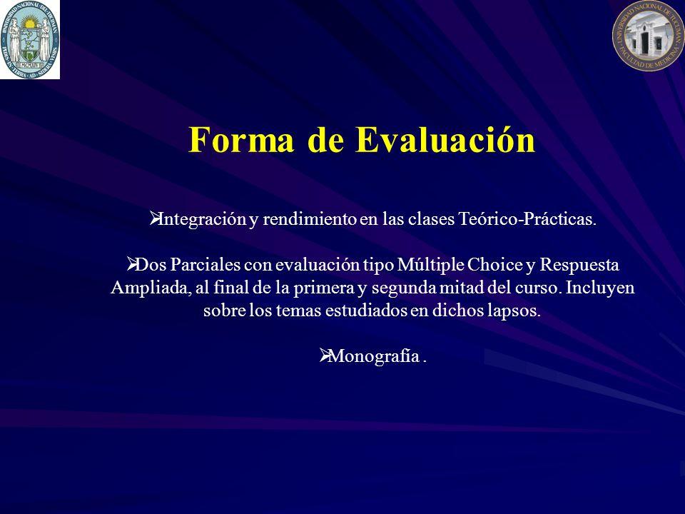 Forma de Evaluación Integración y rendimiento en las clases Teórico-Prácticas. Dos Parciales con evaluación tipo Múltiple Choice y Respuesta Ampliada,