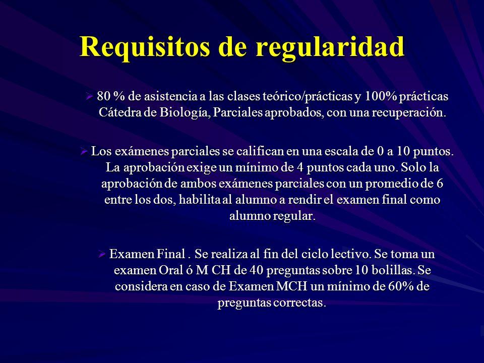 Requisitos de regularidad 80 % de asistencia a las clases teórico/prácticas y 100% prácticas Cátedra de Biología, Parciales aprobados, con una recuperación.