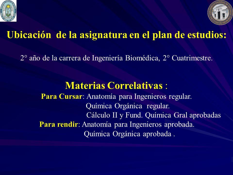 Materias Correlativas : Para Cursar: Anatomía para Ingenieros regular. Química Orgánica regular. Cálculo II y Fund. Química Gral aprobadas Para rendir
