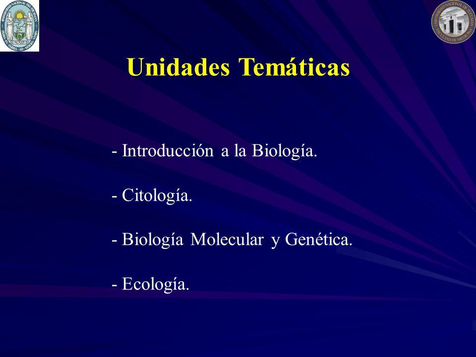 Unidades Temáticas - Introducción a la Biología. - Citología. - Biología Molecular y Genética. - Ecología.