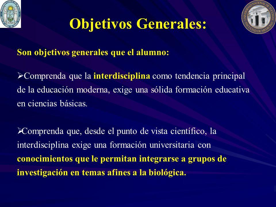 Objetivos Generales: Son objetivos generales que el alumno: Comprenda que la interdisciplina como tendencia principal de la educación moderna, exige una sólida formación educativa en ciencias básicas.